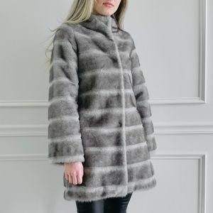 Faux Fur Stripe Thigh-High Coat
